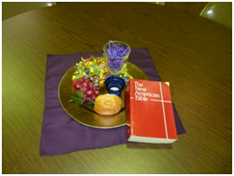 The photo, taken by Eileen Earle, a member of the Corpus Christi Parish Leadership Team, shows the centerpieces the team created for the tables at the Living the Eucharist Parish Retreat.